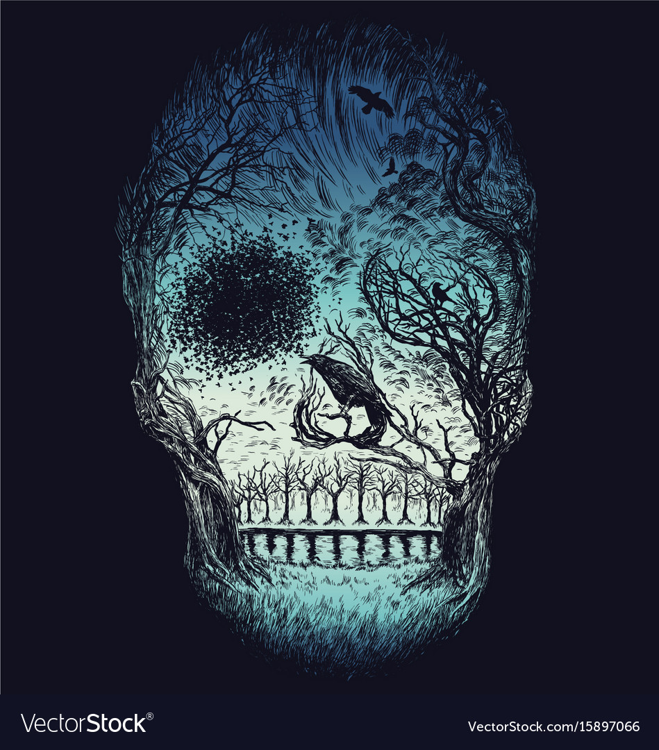 Hand drawn abstract skull made from trees and foli