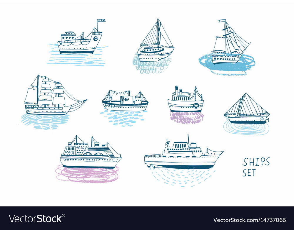 Hand drawn doodle ships set colorful