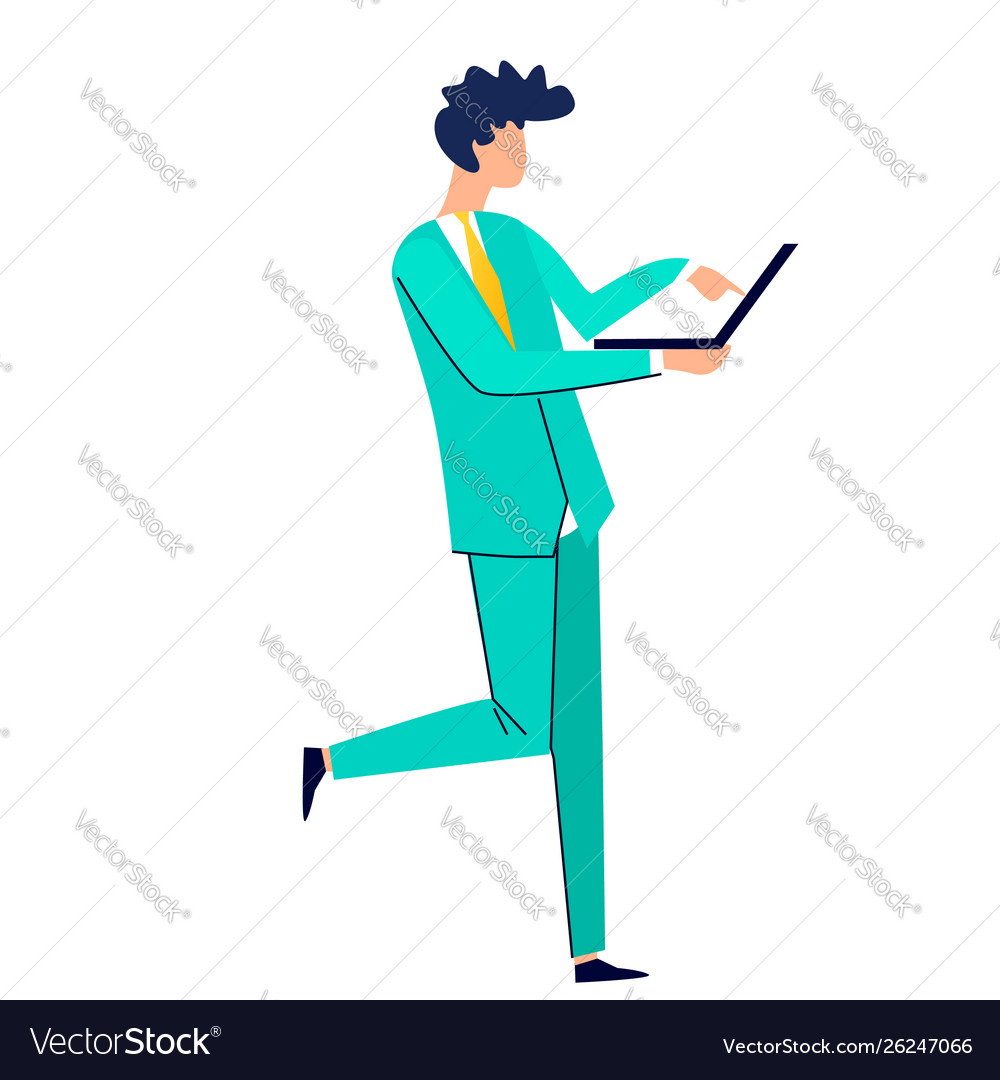 Man holding laptop in his hands