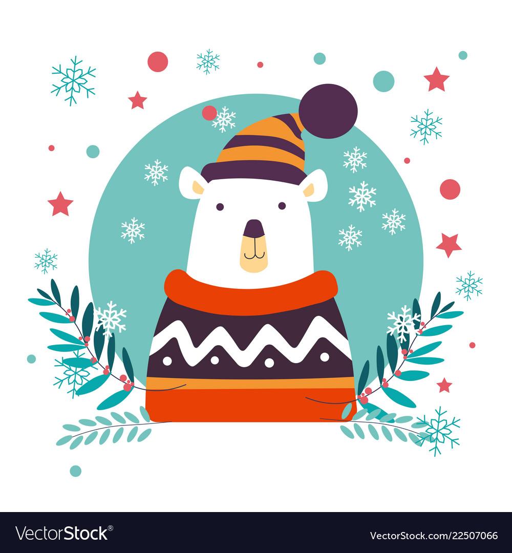 Polar bear christmas animal wearing knitted