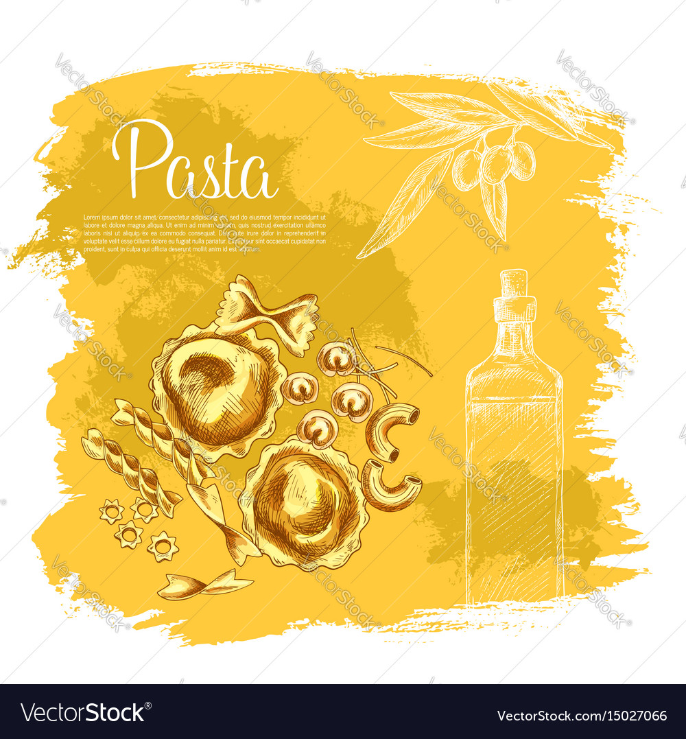 Poster of pasta and italian olive oil