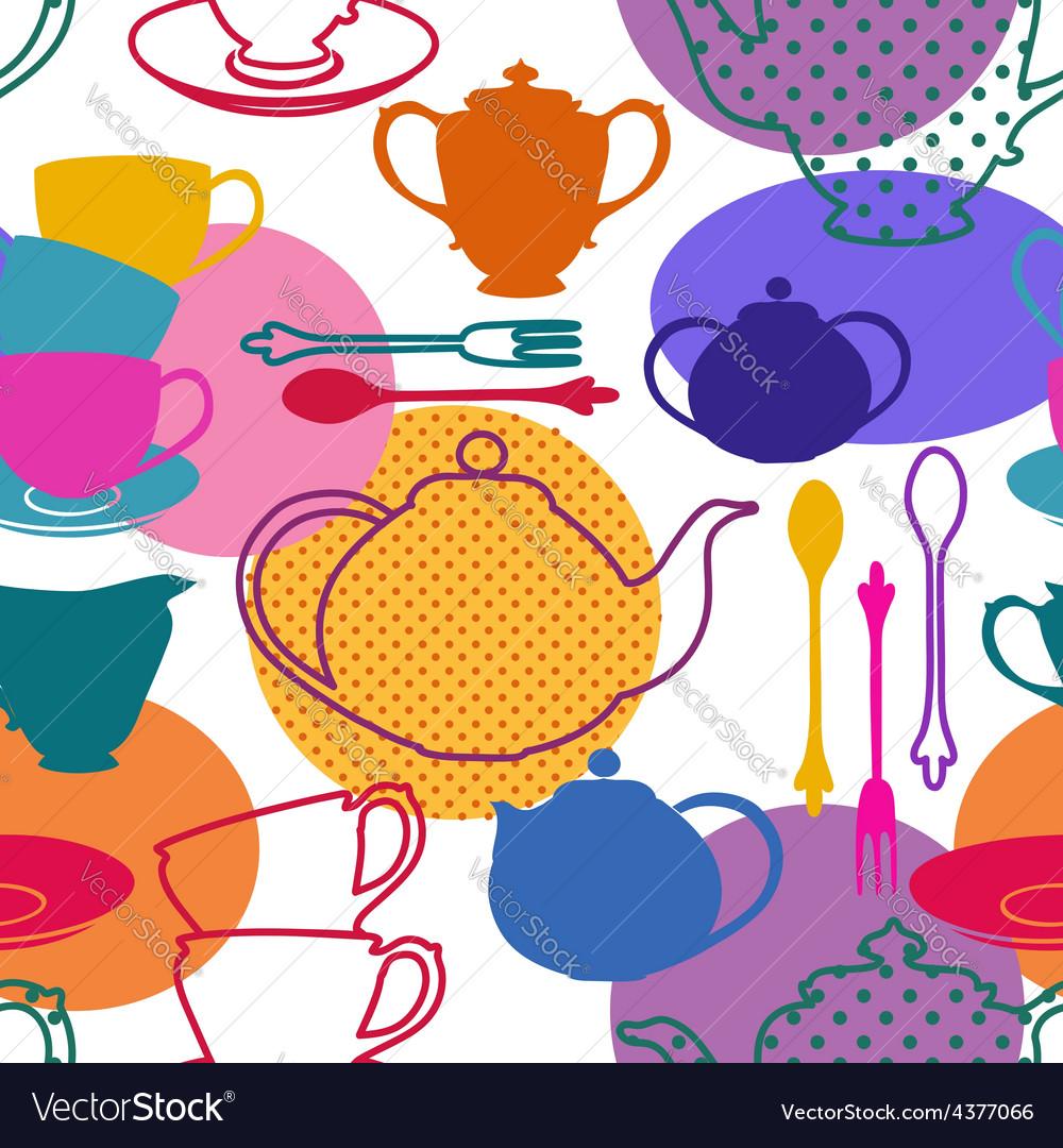 Seamless pattern of tea set dishes