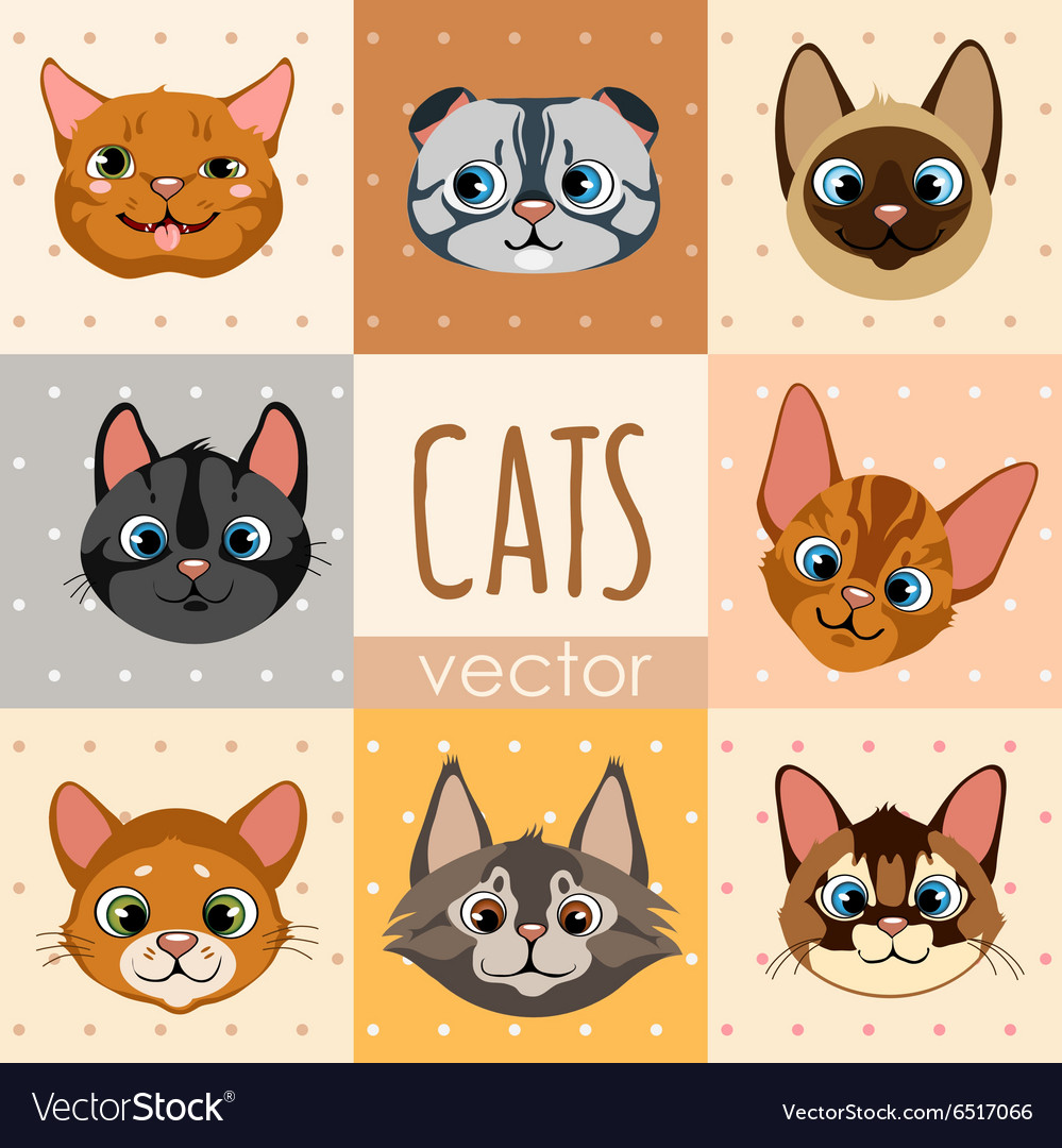 Set Of Eight Colorful Cartoon Cat Faces Royalty Free Vector