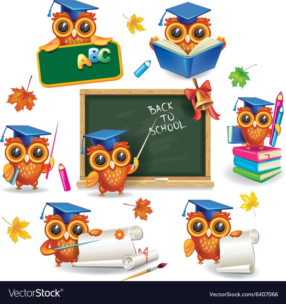 Set of wise owls in graduation caps vector image
