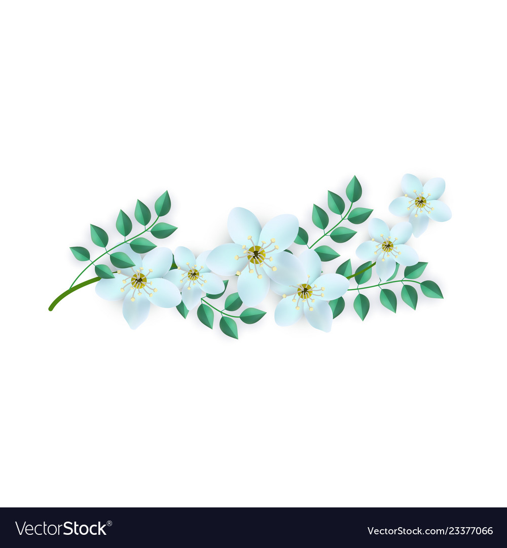 Spring white flowers with leaves pattern