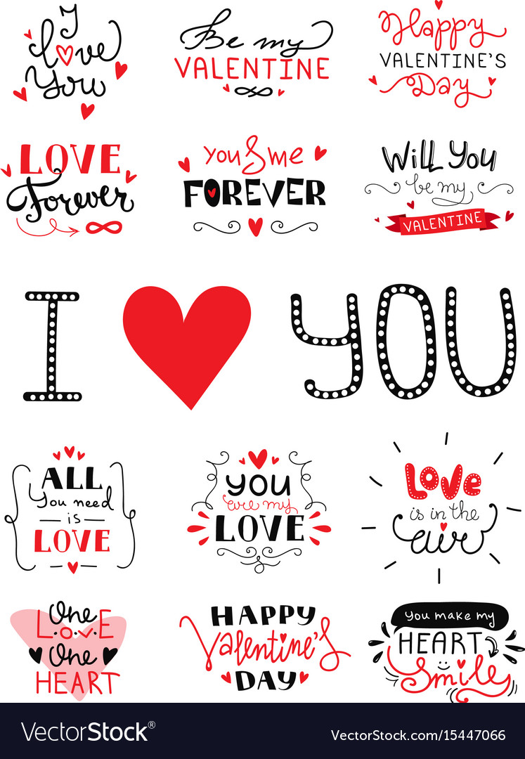 St valentines day hand lettered greeting labels