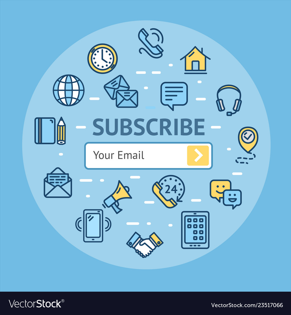 Subscribe signs round design template thin line