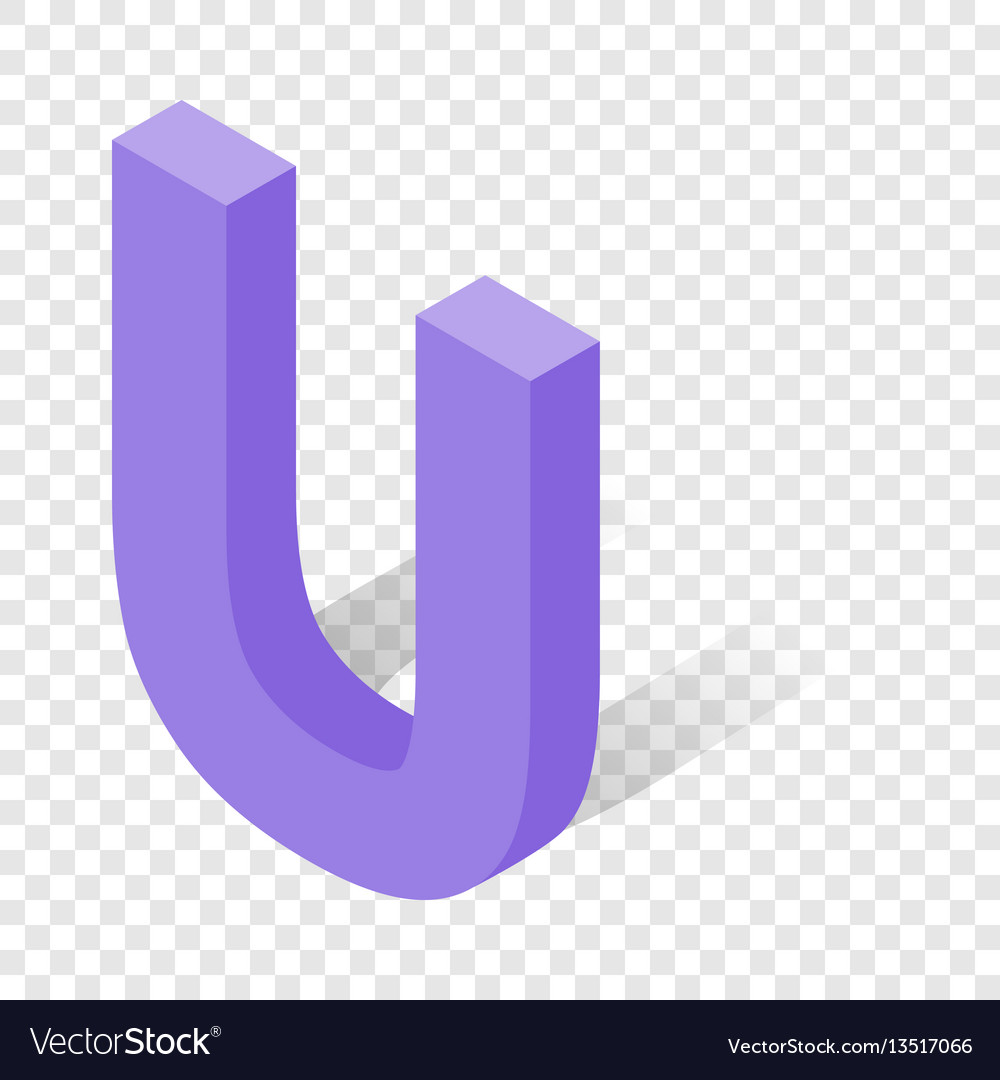 U letter in isometric 3d style with shadow vector image