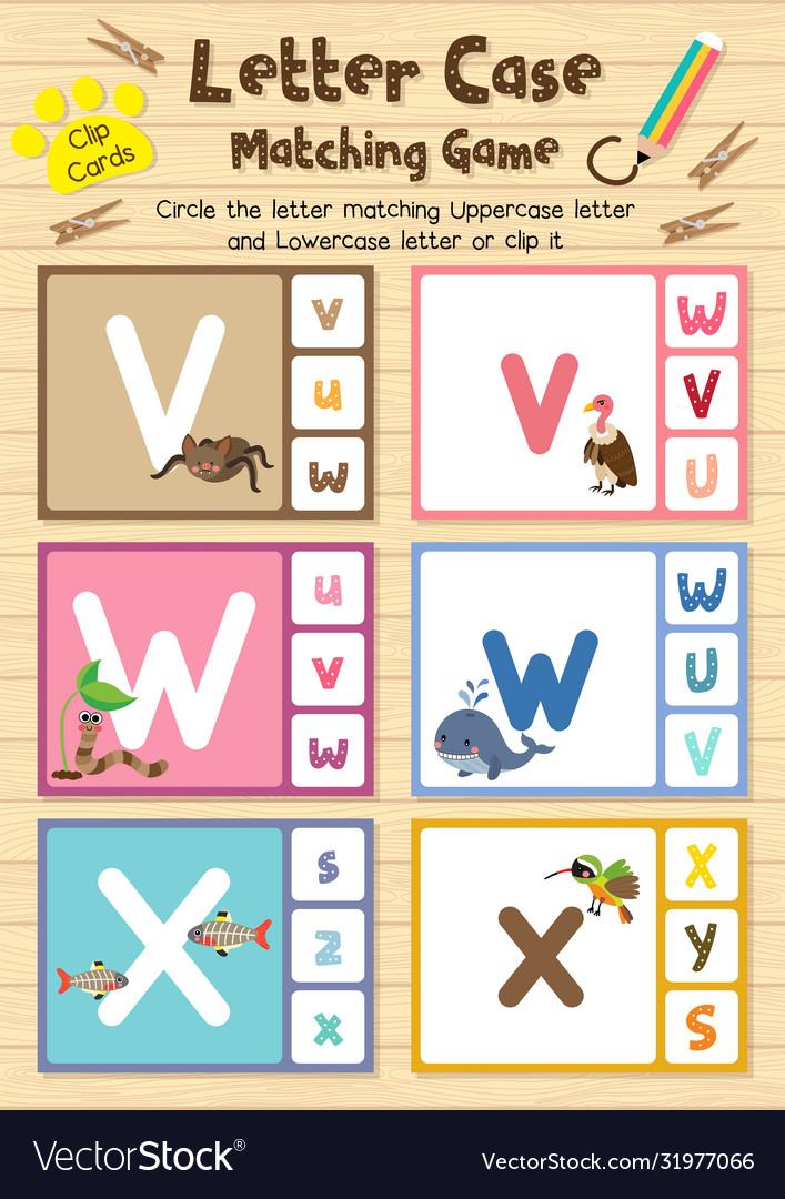 Worksheet Matching Letter Case Vwx Royalty Free Vector Image