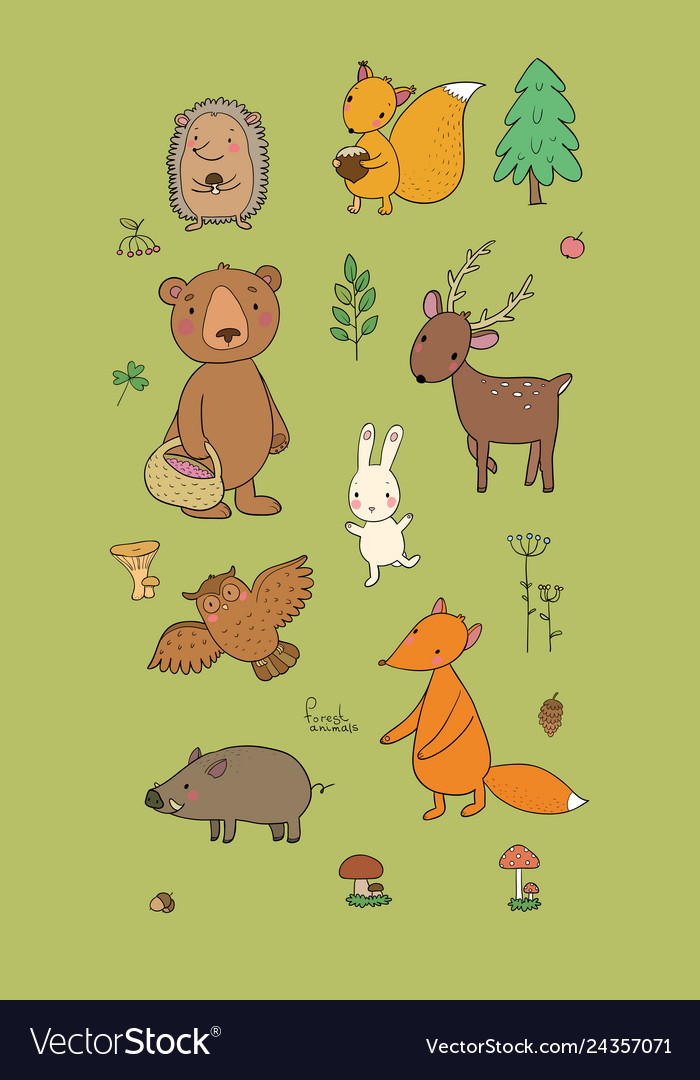 Animals of the forest set with cute cartoon bears