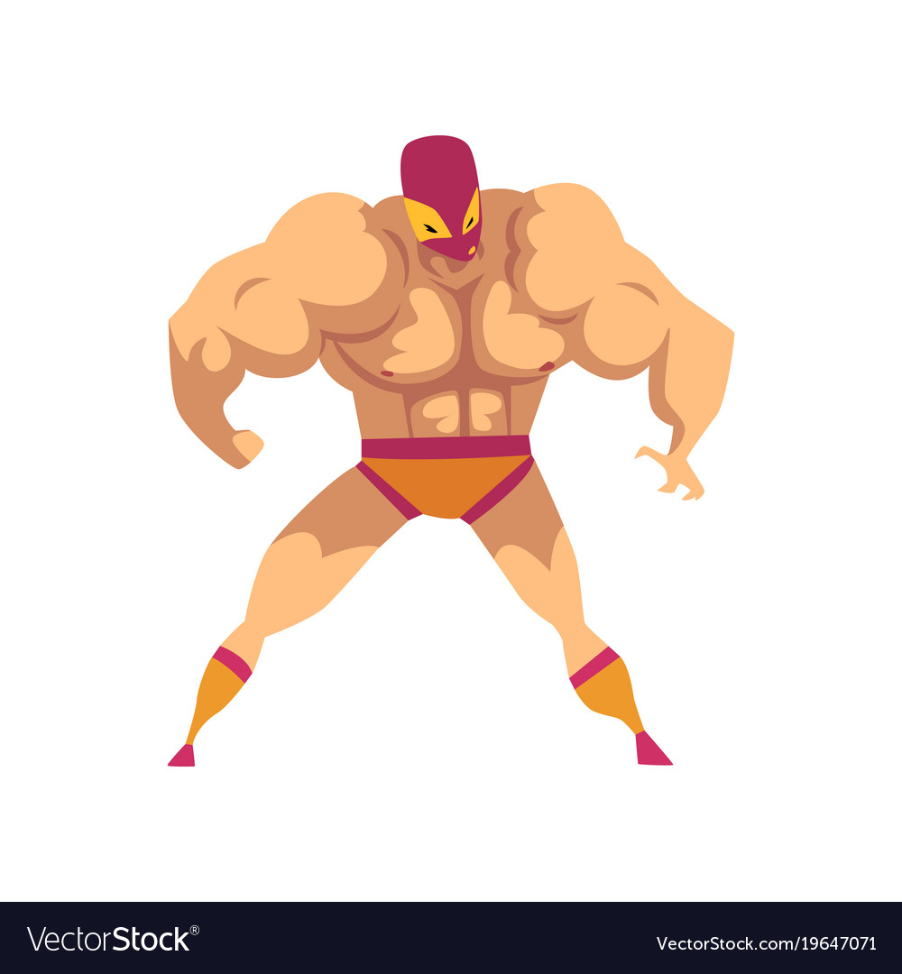 Cartoon strong wrestler in powerful pose fighter vector image