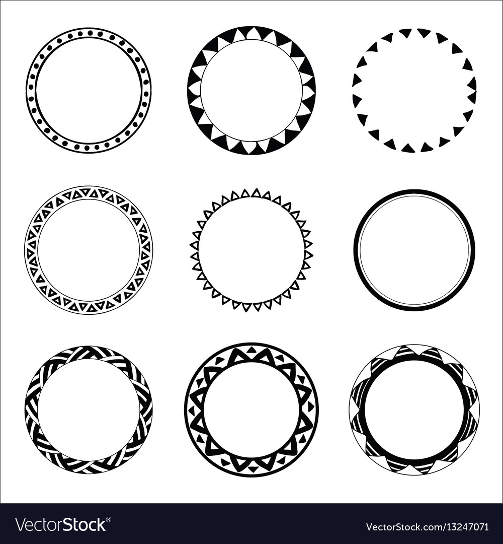 Hand drawn ethnic circles ink collection of