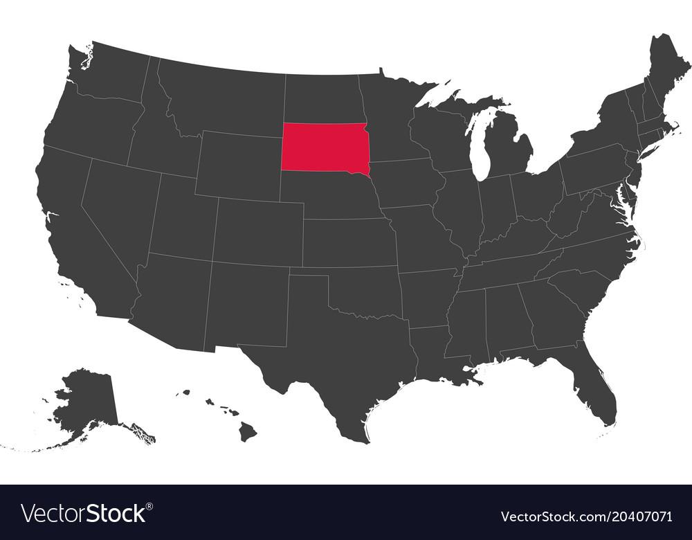 Map of usa - south dakota