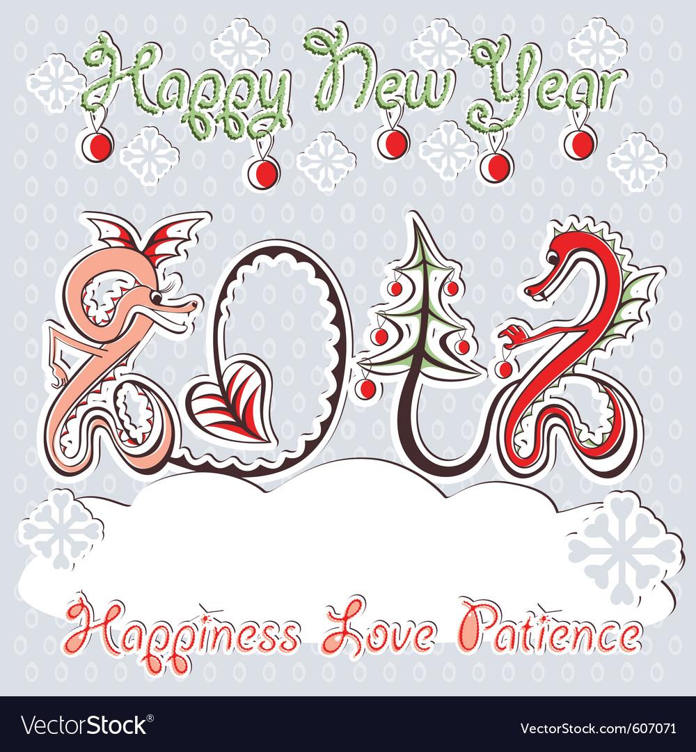 New year 2012 dragons greeting card vector