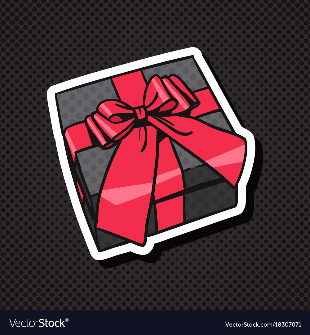 Realistic gift box icon with red bow and ribbon on