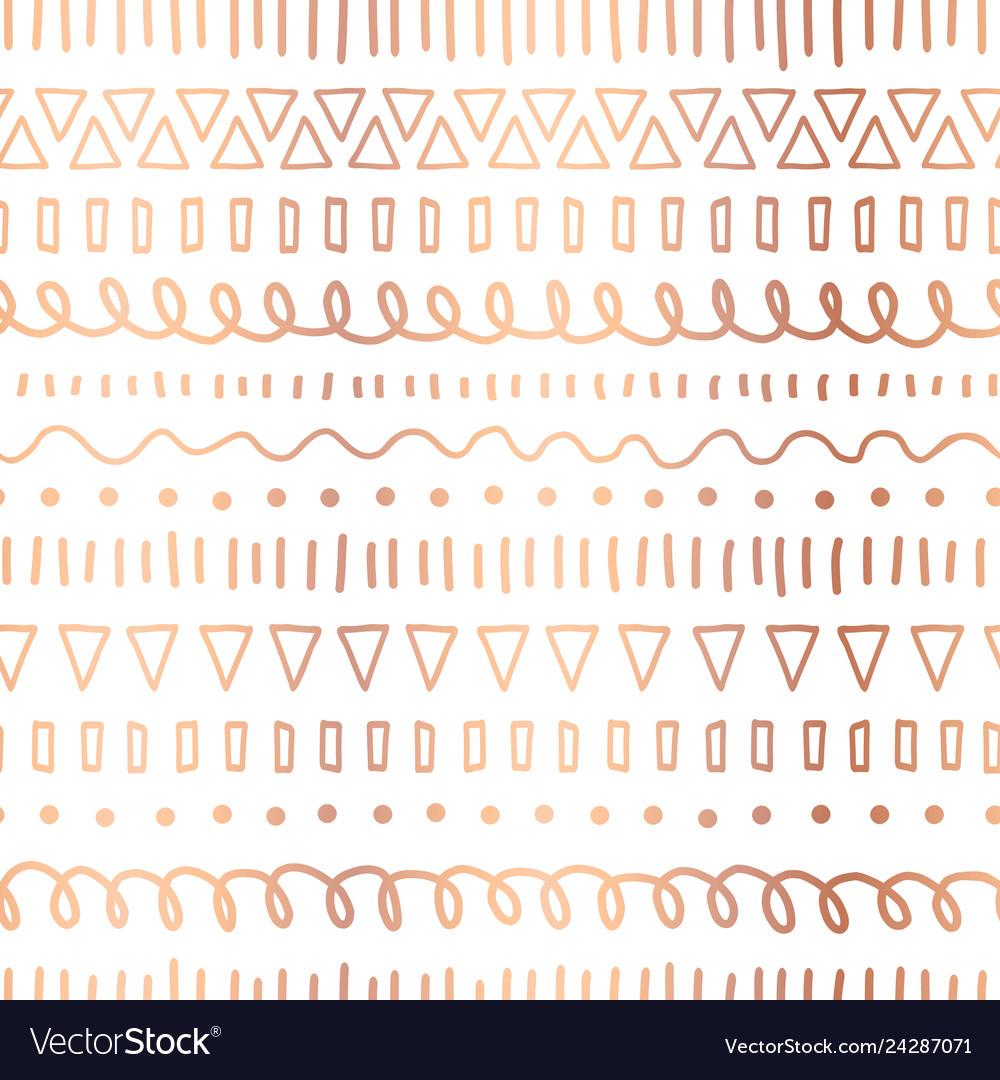 Rose gold foil doodles seamless pattern