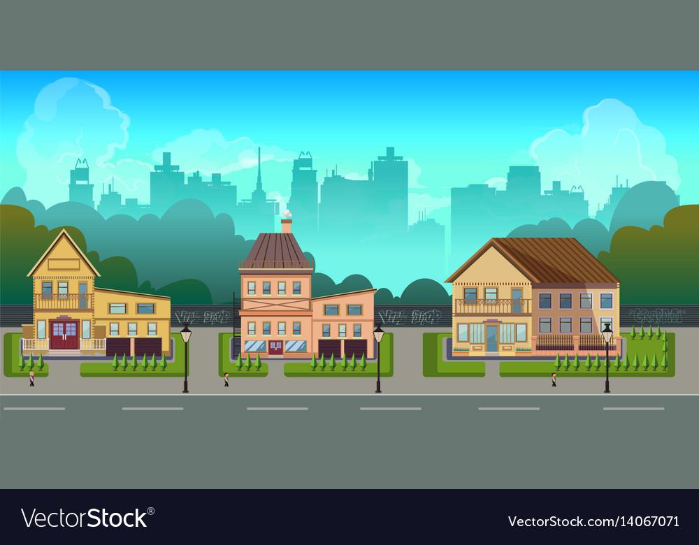 Seamless cartoon city landscape unending
