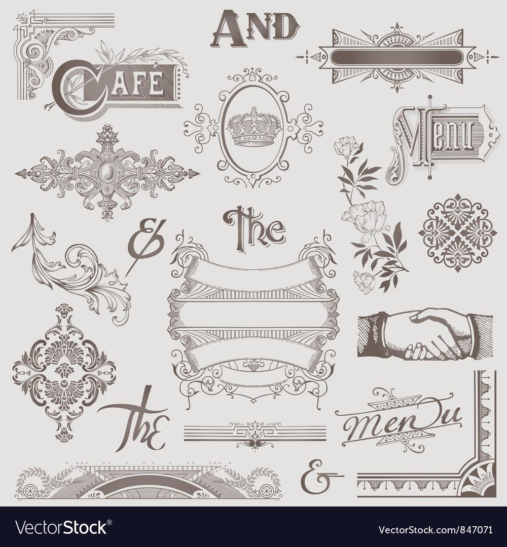 Set Various Retro Design Elements vector image