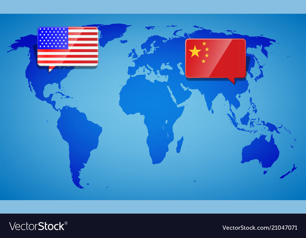 Usa And China At The Blue World Map Background Vector Image