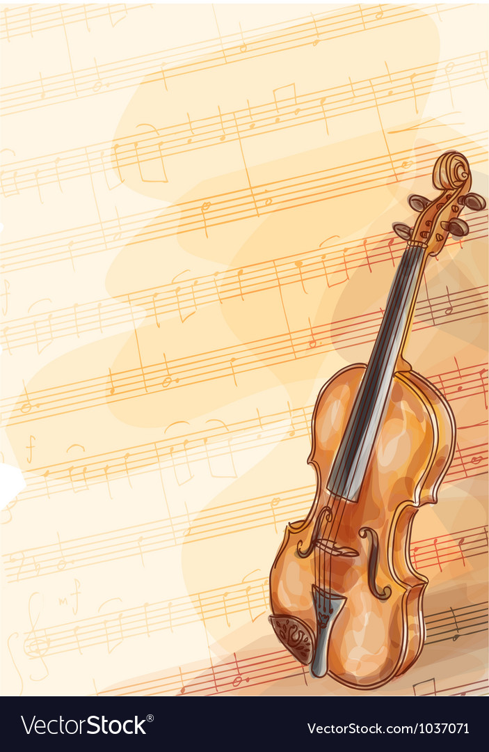 Violin on music background with handmade notes