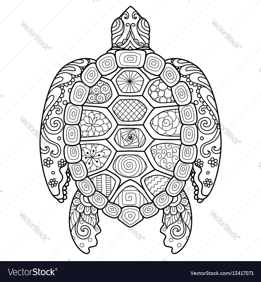 Zendoodle stylize of beautiful turtle