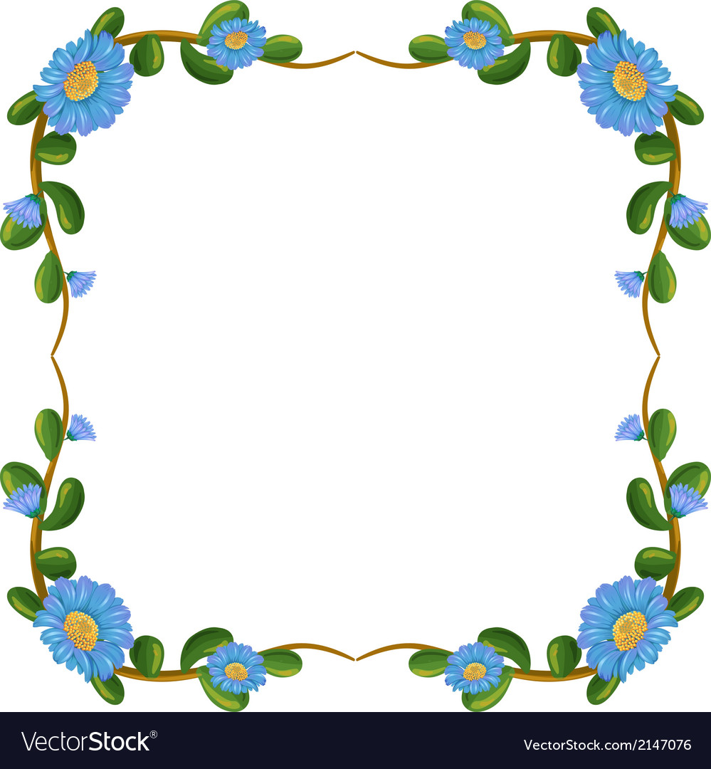 A border design with blue flowers