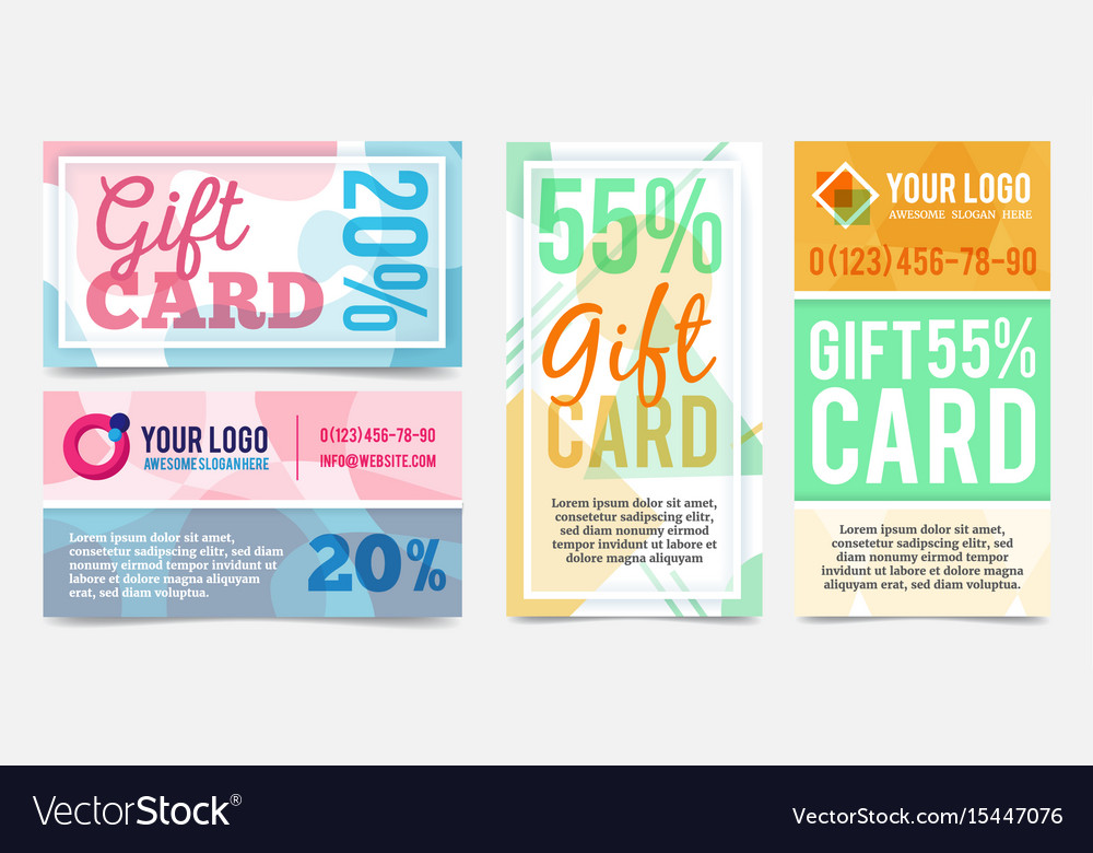 abstract geometric gift cards design templates vector image