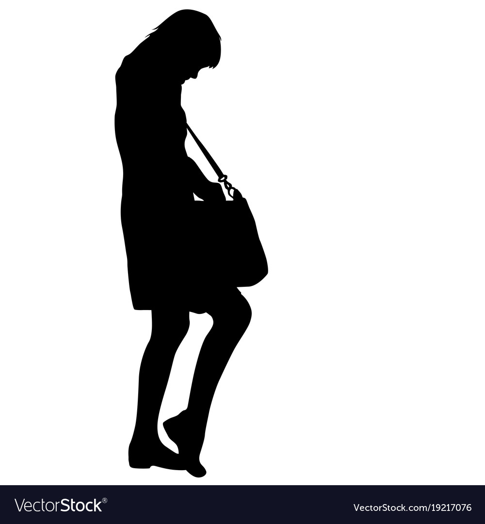 Black silhouette woman standing looking in a bag vector image