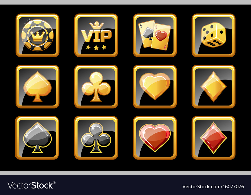 Glass golden and black casino icons poker game