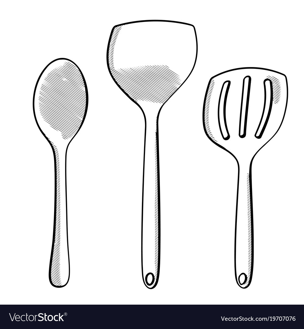 Hand drawn modern spoons vector image