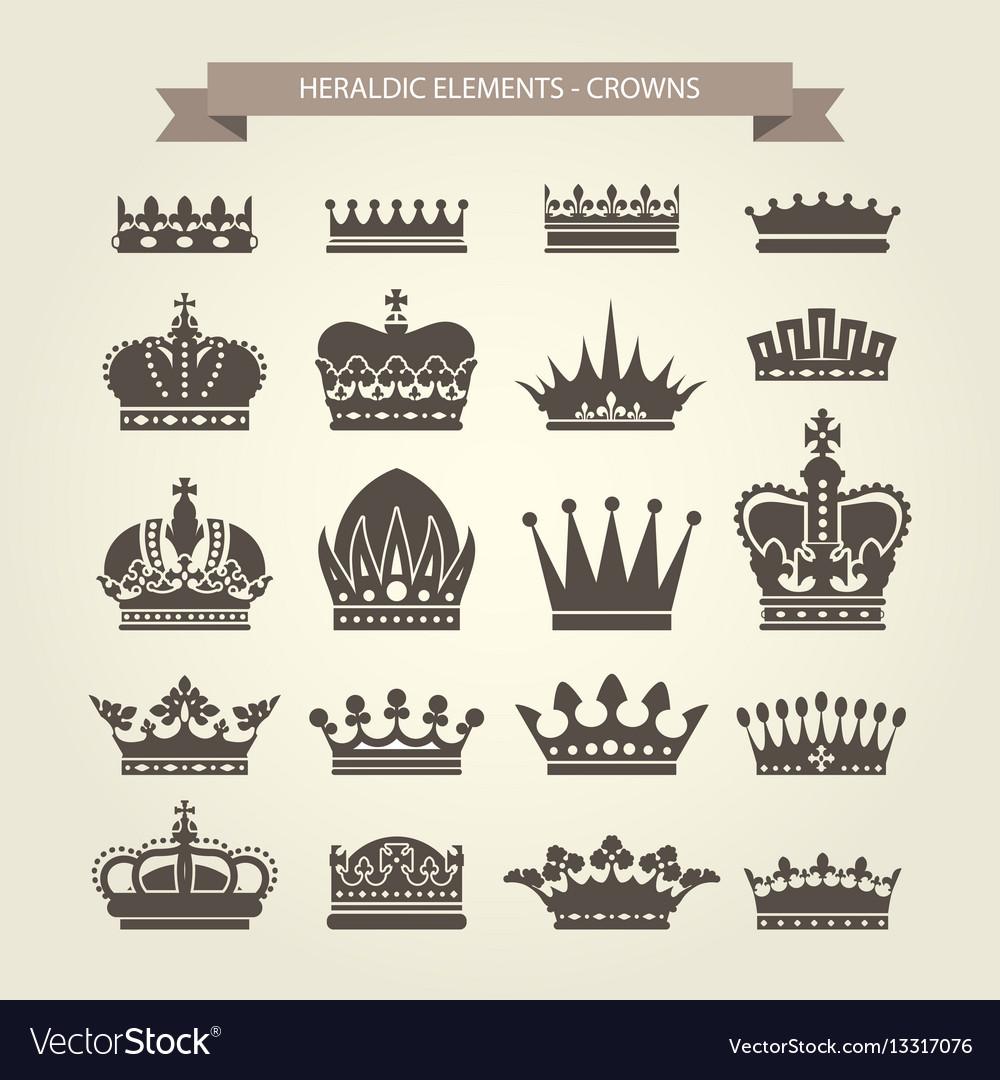 Heraldic crowns set - monarchy coronet blazon