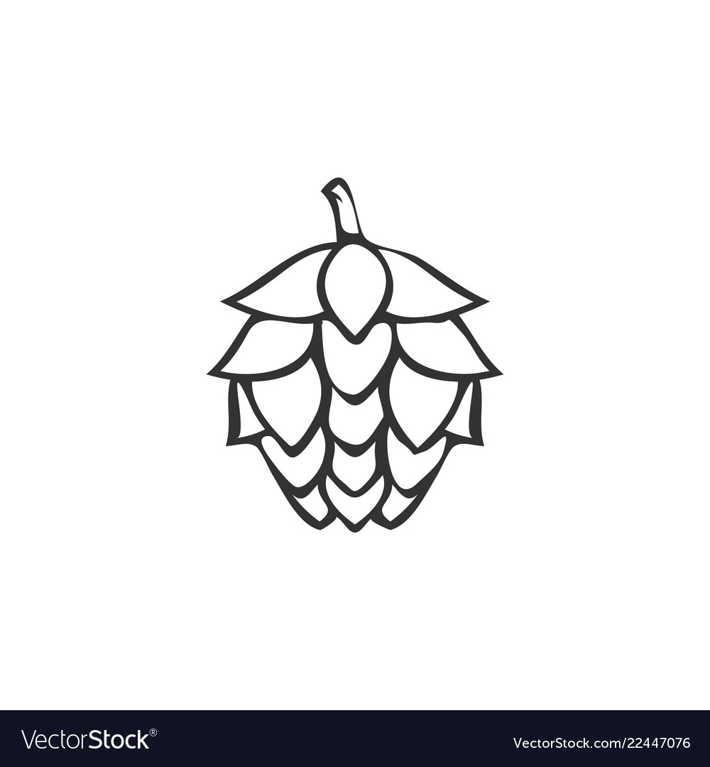Hops outline logo icon design template
