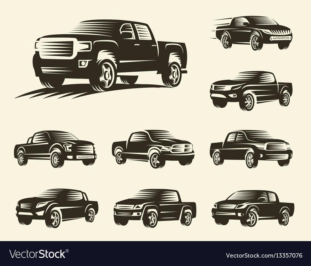 Isolated monochrome pickup trucks logo set cars