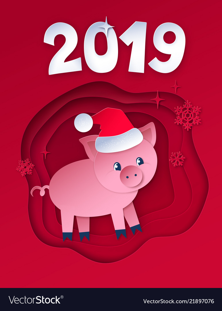 Postcard of new year pig
