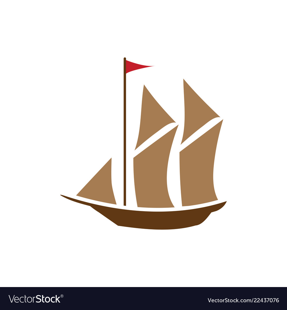 Sailboat graphic design element isolated