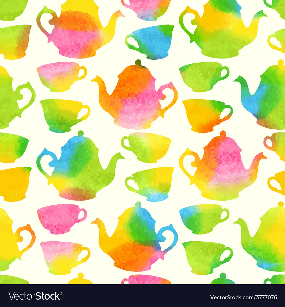 Seamless pattern with watercolor cups and teapots
