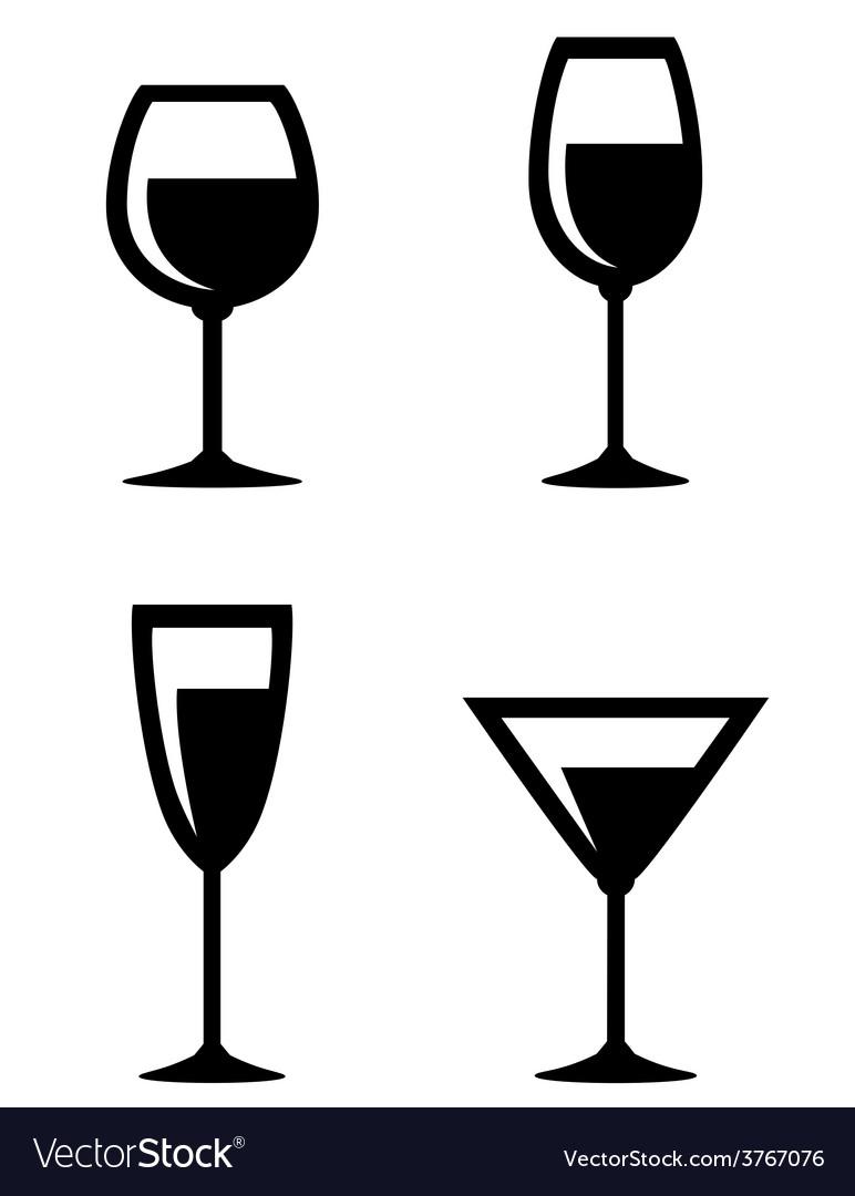 Set isolated wine glasses icons