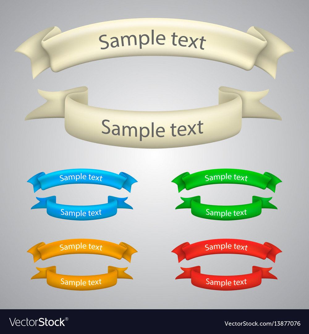 Set of five curled ribbons vector image