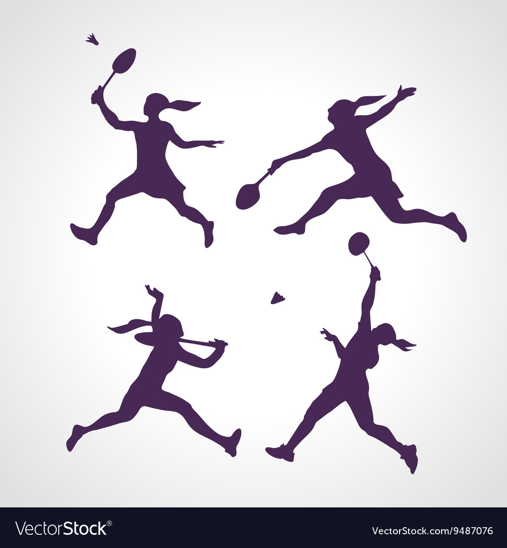 Silhouettes of women professional badminton vector image