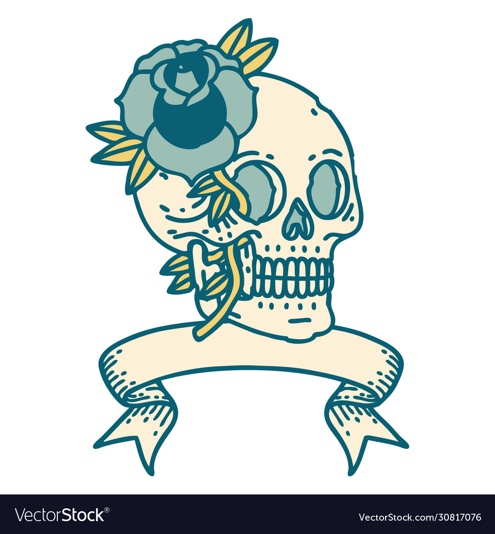 Tattoo With Banner A Skull And Rose Royalty Free Vector