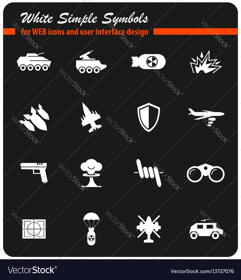 War Symbols Icon Set Royalty Free Vector Image