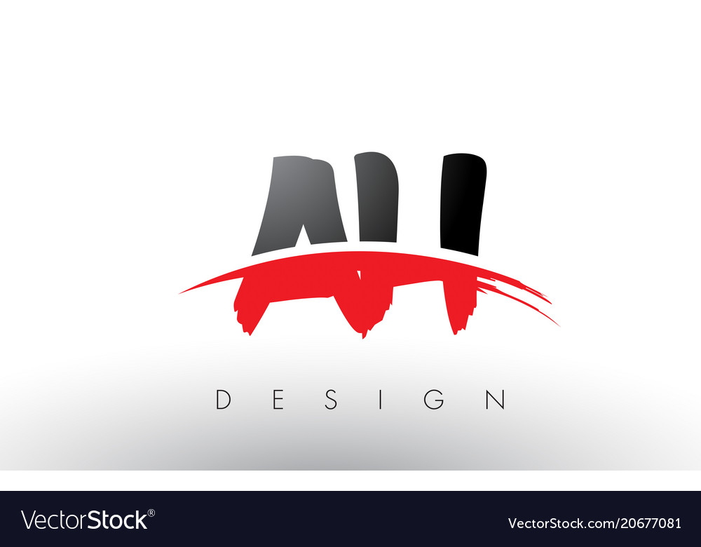 Ah a h brush logo letters with red and black