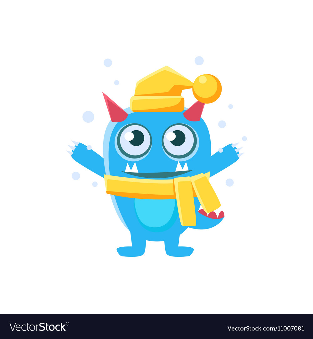 Blue Monster With Horns And Spiky Tail Wearing Hat