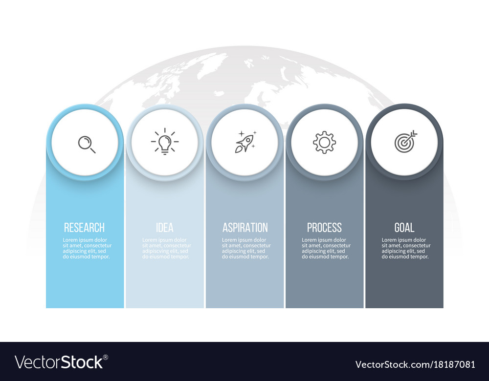 Business infographics presentation with 5 columns vector image