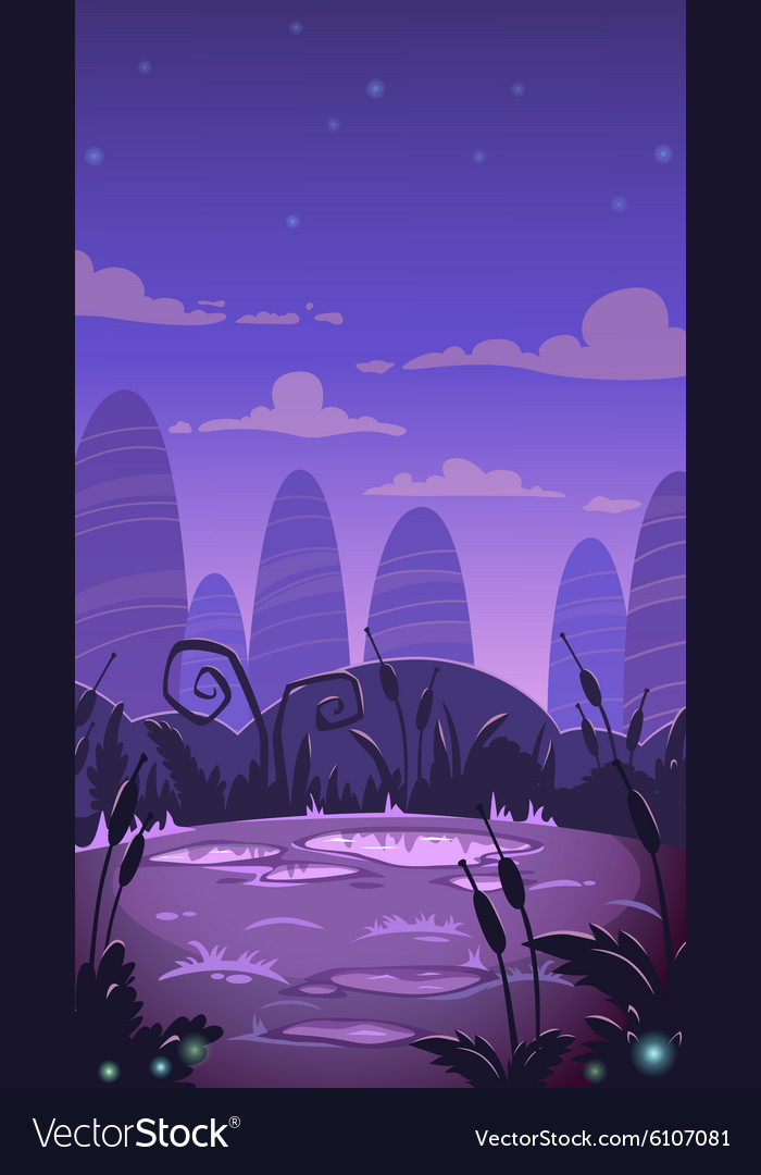 Cartoon vertical night landscape vector image