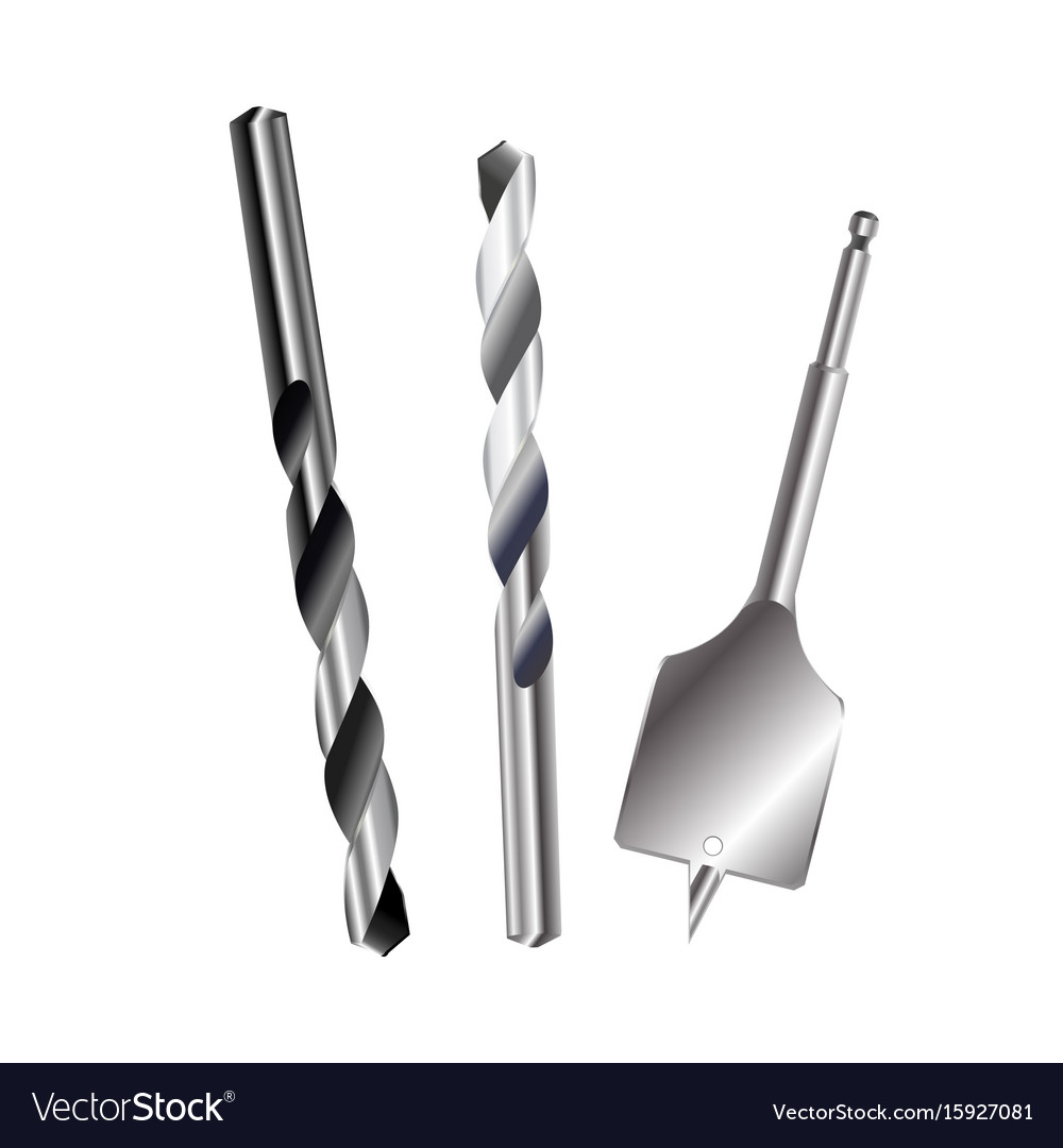 Drill bit metal set isolated on white background