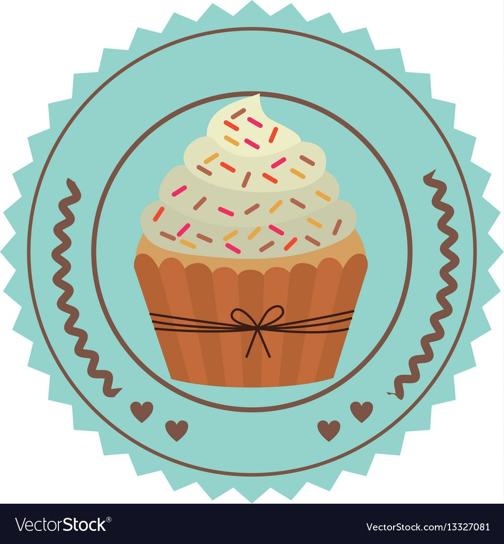 Emblem muffin cupcakes icon design