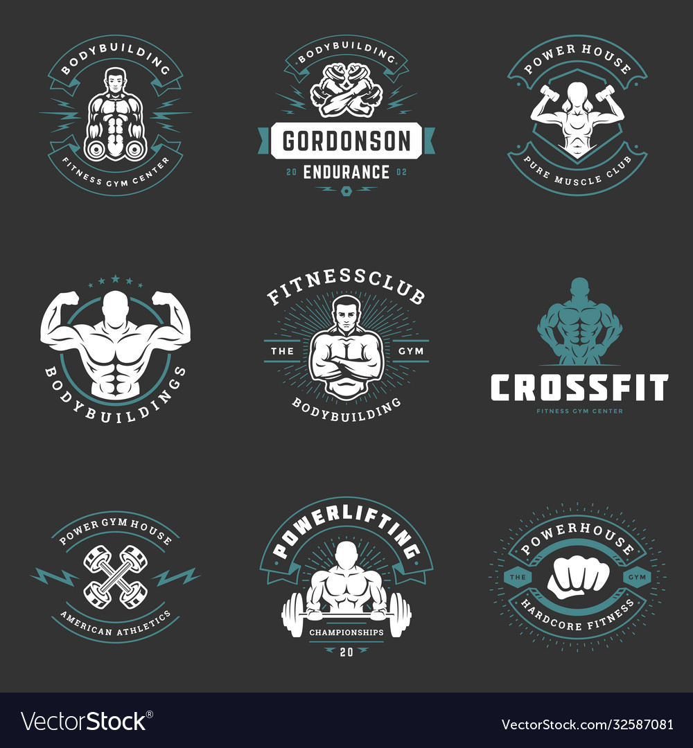 Fitness center and gym logos and badges design