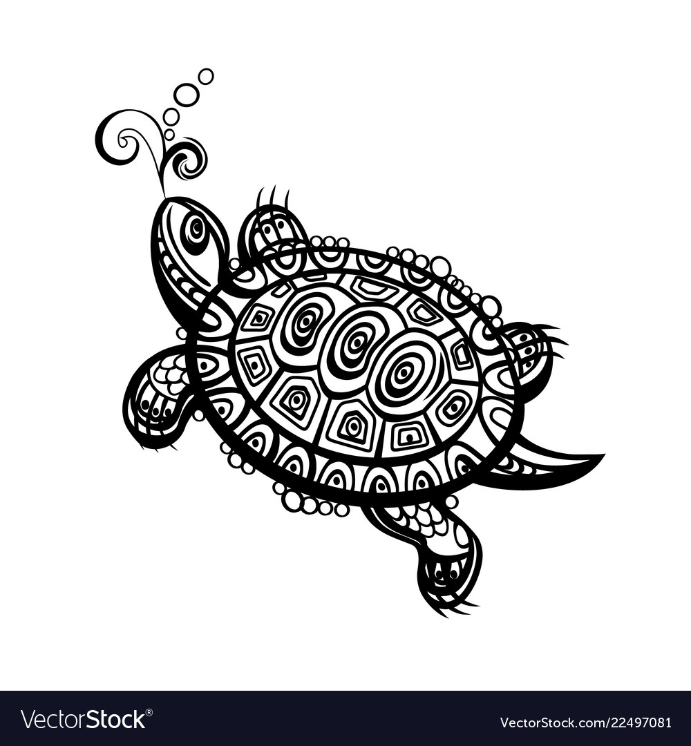 Hand drawn monochrome doodle turtle decorated