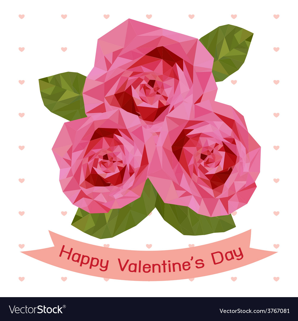 Happy Valentines Day With Pink Rose Royalty Free Vector